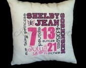 Handmade Birth Announcement Pillow - Baby Shower - Newborn - Gift - Stats - Information - Boy or Girl - Minky - Soft - Sentimental - Crib