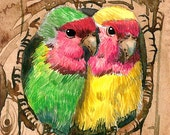 ACEO Limited Edition 3/25- Lovebirds art print of an ORIGINAL ACEO watercolor by Anna Lee, Gift idea for bird lovers and housewarming party