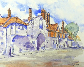 ST.Anne's Gate, Salisbury - print from an original pen and wash painting by John Menage size A3