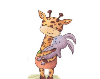 Nursery Art - Giraffe and Bunny Art Print