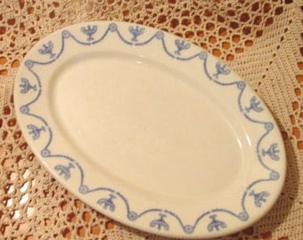 Vintage Blue St. Elmo Pattern OPCO Syracuse China Restaurant Ware Platter, 1927