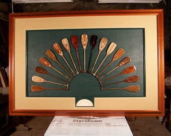 Framed Canoe Paddle Collection, 1/3rd Scale S-Blade Paddles, Custom Mahogany Frame