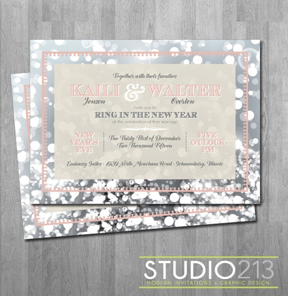 NEW YEAR'S Wedding Invitations New Year's Eve