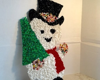 Vintage Melted Plastic Snowman with Christmas Tree / Vintage Christmas Wall Decor