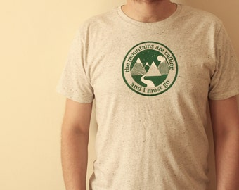 Men T Shirt Mountains Travel Gifts - Mens Travel T Shirt - Hiking T Shirt -  Ethical T Shirt - Organic Cotton - Backpacking