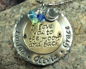 Two Metal Riveted Love You To The Moon  Handstamped Mom or Grandma Necklace