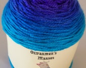 Ozimerino.  Hand-dyed purple to teal gradient fingering weight yarn.  100gm. Parrot