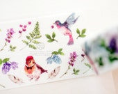 made in Japan x Taiwan Designer washi masking tape - Limited Edition hanu Flower and bird Berries Hummingbird  1 ROLL