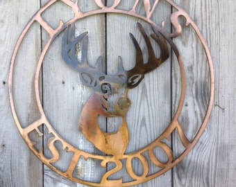Custom Wall Mount Deer Round Steel Sign