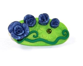 Navy Blue Flower Garden Barrette - Mystical Elegant Bloom of Roses and Swirled Green Hair Clip