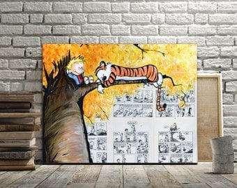 Canvas Print of Calvin and Hobbes Lazy Sunday