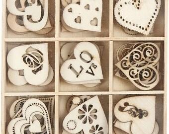 Wooden Hearts Wedding Table Decoration Scrapbooking Wood decoration Card Making Love Hearts Party Decor