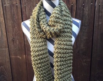 Traditional Olive Hand Knit Scarf /green / light green