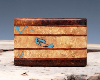 SALE:  Exotic Wood & Turquoise Inlaid Belt Buckle - Handmade