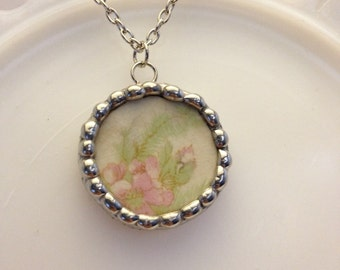 Vintage Broken China Pendant Necklace