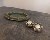 Vintage Womens Earrings Rhinestone Clip On Resin Bracelet Set Mid Century Rock n Roll Jewelry