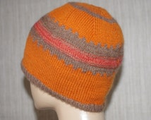 Pure Italian Cashmere Orange Brown Colorful Hand Knit Soft Light Striped Beanie Hat for Men or Women