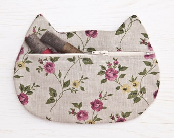 Gray Cosmetics Linen Makeup Bag Flower Cosmetic Cat Pencil Case Cute Zipper Pouch Bridesmaid Gift Bag Gray Cat Boho Cosmetic Bag