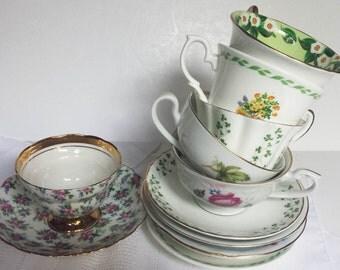 Vintage Teacups Set of Six (6) Tea Cups Wedding Shower Tea Party Gift