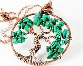 Tree of Life Necklace, Malachite tree necklace, Copper Wire Wrapped tree pendant, green gemstone talisman necklace, holiday gift for her