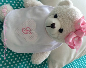 Baby Bib - Appliqued with Sweetheart and Personalized - Choose your colors