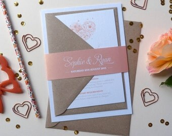 Wedding Invitation Suite - 'Lila' Wedding Stationery Invitation Set - Custom Invitation - Wedding Invitations - Invitations