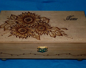Decorative Rustic Wood Jewelry Box Wood Burned Box Wooden Jewellery Box Tea Box Makeup Container Holder Personalized Wedding Sunflower Gift