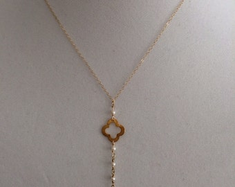 Gold, Lariat, Pearl, Quatrefoil Necklace
