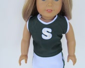 American Girl Doll Clothing, Spartan Cheer Outfit, American Girl Doll Spartan Cheer, Football Cheer Outfit