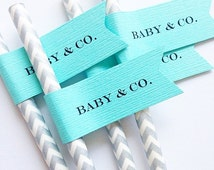 Baby & Co Paper Straws With Flags/ baby shower/ party decor/ chevron straws/ aqua/ sip n see/ baby sprinkle