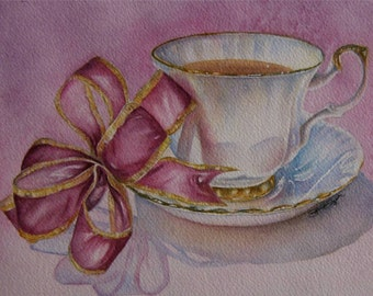 Steeped In Pink 5x7 Ltd Edition Watercolour Print Of China Teacup With Pink Ribbon