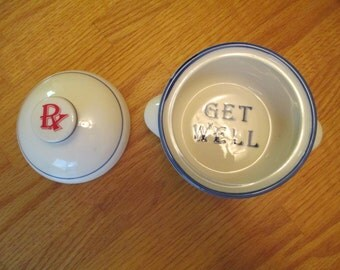 Get Well Gift Vintage Chicken Soup Bowl With Lid - Kitsch Pharmacy 1950s Midcentury