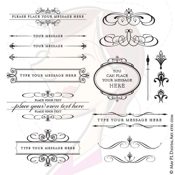 Wedding Clipart Calligraphy VECTOR Frame Bridal Save The Date Scrapbook Embellishment Text Dividers Oval Digital Design Element 10136