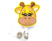 Gina Giraffe - Felt Name Badge Holder - Cute Badge Reels - Unique Retractable ID Badge Holder - Felt Badge Reel - RN Badges - BadgeBlooms