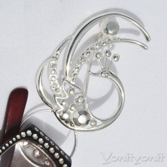 Bird Brooch, phoenix, Eye Glasses Holder, Brooch, Pin, 925 Sterling Silver Brooch, Unique Jewelry