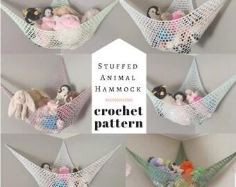 PATTERN // Crochet Stuffed Animal Hammock // Kid's Room Toy Storage