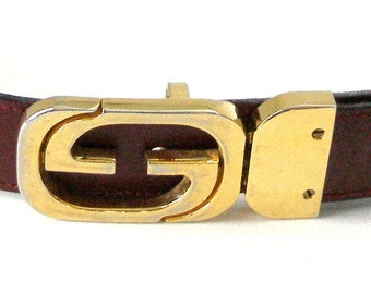 Vintage GUCCI Reversible Gold SIGNATURE BUCKLE Black/ Brown Leather Belt Size 30/75 Designer Made In Italy
