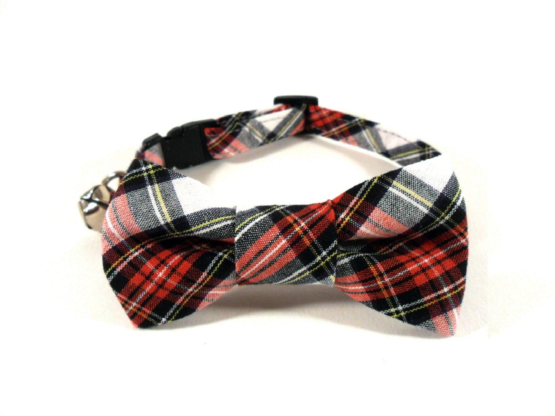 cat bow tie collar tartan black cat collar bow tie