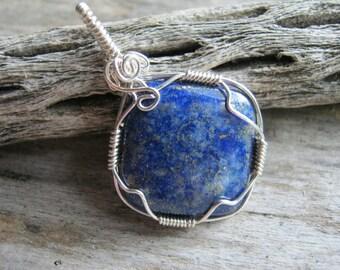 Lapis Lazuli Pendant Necklace, Wire Wrapped Lapis, Denim Gemstone Pendant, 925 Sterling Silver Fill, Throat & Third Eye Chakra READY To SHIP