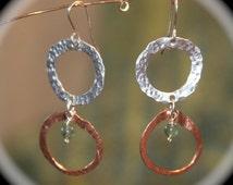 Aventurine Double Hoop Earrings, Long Double Hoop Earrings, Green Aventurine Hoops Earrings, Handmade Hoops