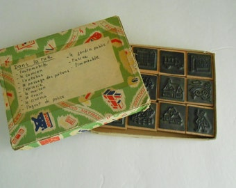 vintage boxed French rubber stamp set school Fernand Nathan