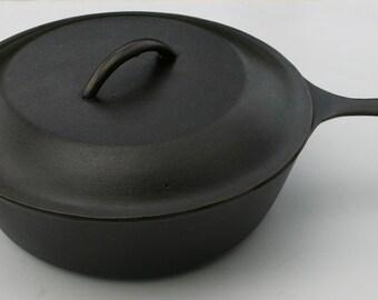 Vintage LODGE Cast Iron Deep Skillet Fry Pan No. 8 w/ Lid & Trivet Professionally Cleaned, Organically Seasoned
