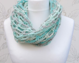Summer Infinity Cowl, White/Grey/Turquoise Crochet Cowl, Trellis Scarf, Long Infinity Cowl, Multicolour Infinity Cowl, Lace Cowl
