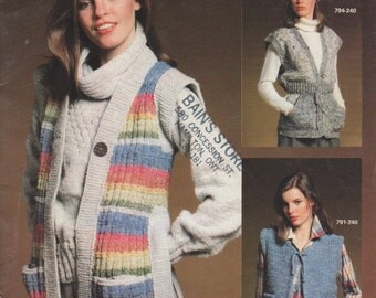 19 Vest Patterns to knit by Bernat, Small Change #240, Mens and LadiesThi