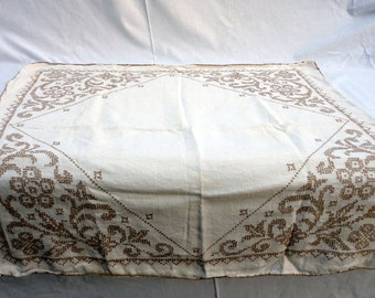 "Vintage Hand Embroidered Heavy Linen Tablecloth 31"" Square Cross-stitched Floral Scroll Corner Cardtable Blanket Stitch Hem 1930s home decor"