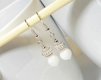 White Agate Stone Bead With Silver Spring Coil Bead Wedding Party Dangle Earring