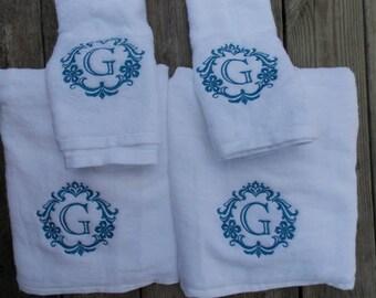 Damask Monogrammed Towel Sets, Bridal Shower Gift, Cotton Anniversary Gift, 2nd Anniversary Gift, Wedding Gift, Dorm Towels, Graduation Gift