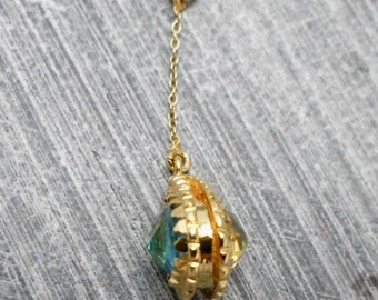 Gold Drop Pendant with Bezels on 2 Sides, Aqua Marine and Citrine, Bridal, Wedding