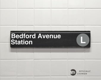 Bedford Avenue Station - New York City Subway Sign - Wood Sign
