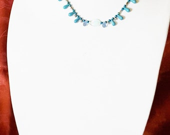 133A Teal glass and Teardrops